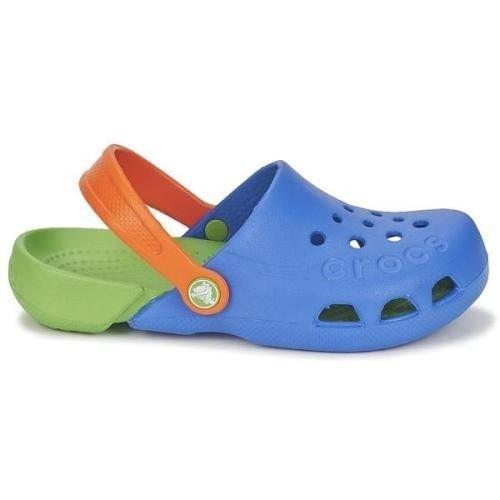 całkiem miło przemyślenia na temat nowa wysoka jakość Crocs Kids Electro Sea Blue Lime Niebieskie-zielone klapki dla dzieci